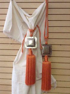 Pair of Moroccan Silk Curtain Tassel Caidal Tieback Hammered Square Metal Orange #Handmade #Moroccan