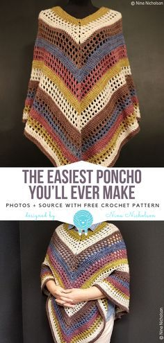 Best Photo Crochet poncho patterns Tips The Easiest Poncho You'll Ever Make Free Crochet Pattern – Free Crochet Patterns Crochet Pattern Free, Crochet Motifs, Knitting Patterns Free, Sewing Patterns, Crochet Patterns, Free Knitting, Scarf Patterns, Knitting Charts, Pull Crochet