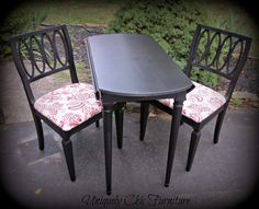 Uniquely Chic Furniture: Drop Leaf Table and Flea Market Chairs