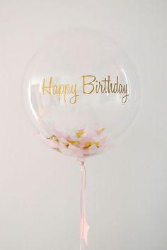 Happy Birthday Balloon Clear + Confetti