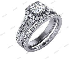 1.25 CT White Gold Plated 925 Silver D/VVS1 Diamond Engagement Bridal Ring Set #Affion8