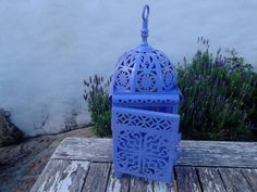 HANDPAINTED MOROCCAN LANTERN, Greek blue, lilac, romantic, lighting, candle holder, home decor on Etsy, $32.11 AUD