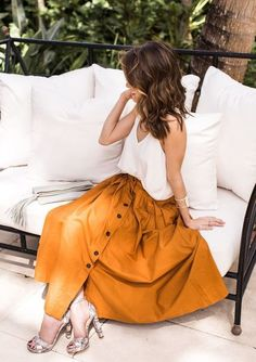 $10 - $50 Boho Chic Style Bright Orange Yellow Button Up Front Detail High Waisted Maxi Skirt Plain White Tank Top Spring Summer Holiday Style Boho Chick Tumblr