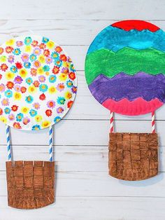 The kids will love the chance to have their creativity soar through the air with our Paper Plate Hot Air Balloon Craft! Summer Crafts For Kids, Spring Crafts, Art For Kids, Kid Art, Spring Toddler Crafts, Toddler Art Projects, Paper Plate Crafts For Kids, Paper Plate Art, Paper Art