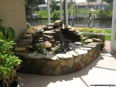 waterfall from a living trees trunk going into a pond - Google Search
