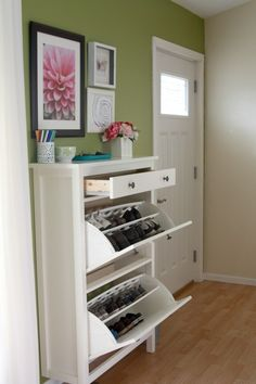 Ikea shoe storage for entryway. hemnes. IN THE ENTRYWAY! Why did that not occur to me?