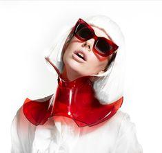 VALLEY EYEWEAR ' BRIGADA ' in red premium acetate , neckpeice by Patrick Hartley