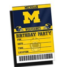 The Michigan Wolverines Birthday Party Invitations 10 Pack designed by TSS artist Erin Dawson. Invitations measure 2.5x6. Includes 10 envelopes.