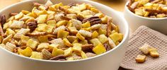 Enjoy your French toast by the handful with this snack mix made with French Toast Crunch™ cereal, pecans and pretzels in a maple syrup glaze.