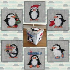 Cross Stitch Cube #penguins Idea: cross stitch dice? (Christmas theme?)