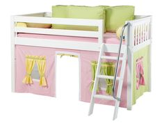 Maxtrix Kids Easy Rider 25 Low Loft Bed with Curtain