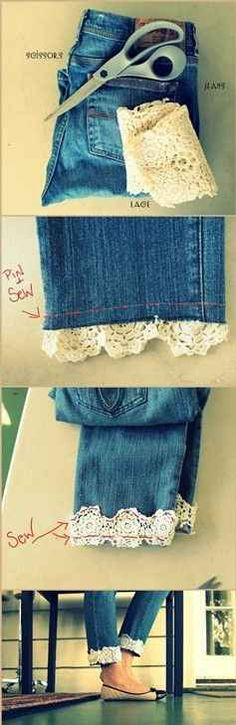 Add some lace to the bottom of your jeans for a classy look. | 31 Creative Life Hacks Every Girl Should Know