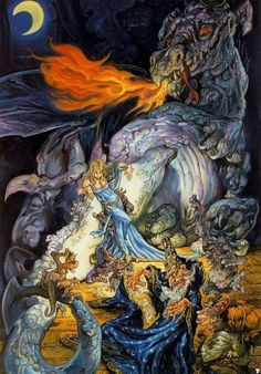 Here's the vibrant illustration for A Malady of Magicks.  Image © Josh Kirby Estate. #humor #fantasy #joshkirby #book #covers