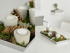 Concrete/Cement candle holders for tea lights Concrete Candle Holders, Diy Candle Holders, Diy Candles, Christmas Party Table, Christmas Table Decorations, Diy Adornos, Diy Love, Diy Presents, Craft Show Ideas