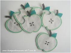 Descanso de copos em forma de maçã, na cor verde. Kit com 6 unidades.  R$ 22,90 o conjunto.  Compre na Boutique de Encantos: www.boutiquedeencantos.elo7.com.br