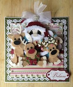 TWAG 3D 7X7 Christmas Pop-Up Card 4 Premade Scrapbook Page Paper Piecing *Pearl*