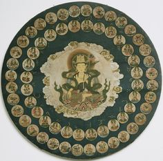 Star Mandala. Center: Amida Buddha, seated on a lotus throne and holding a lotus with flaming jewels. Two groups of deities appear around. The outer group of thirty-six stellar gods are guardians, all in military garb. The inner circle depicts twenty-eight deities, who are each identified with a specific constellation based on Chinese astronomy and known as the Twenty-Eight Mansions (xiu). Late 17th century, Wood, 54.6 cm Accession Number: 1978-45-2 Philadelphia Museum of Art, 1978