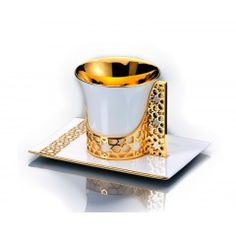 Arabesque tea cup and saucer  gold