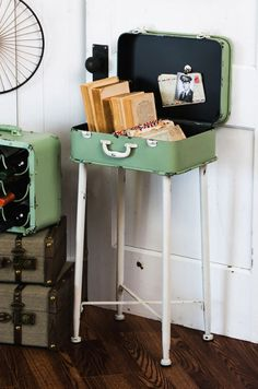 Vintage luggage side table ==