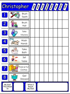Chore Chart w/Moveable Chores for Multiple kids: 1 by MainlyCharts