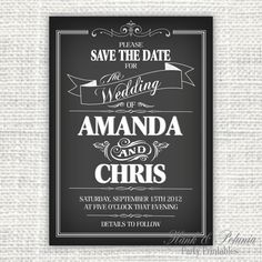 Printable DIY Chalkboard Save The Date or by HankandPetunia, $10.00