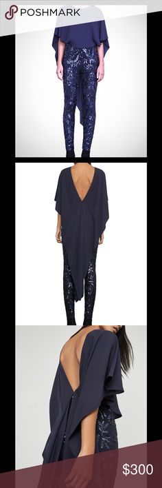 BcbgMaxazria Dena Jumpsuit Beautiful Navy Jumpsuit with sequence tulle pant and gorgeous flows cape like bodice accentuating the back.  Perfect for Holiday parties, super sexy and elegant, measurements upon request.  Also available in other sizes by request BCBG Dresses Backless
