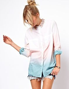 ASOS Shirt With Embellished Collar And Dip Dye