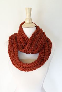 Sunrise CIRCLE SCARF  Red Orange Acrylic Wool Yarn by theyarnival, $27.00