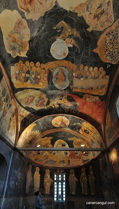 Interior Chora Church today the Kariye Museum. Fresco Panorama. Istanbly, TURKEY.   (by ~caner, via Flickr)