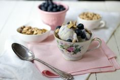 Blueberries and Yoplait® Frozen Yogurt Breakfast Bowls - Adventures in the Kitchen Cooking School
