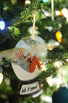 Make personalized Christmas ornaments with laminated photos of your child!