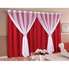 Colorful Curtains, Curtains With Blinds, Drapes Curtains, Red Living Room Decor, Classy Living Room, Curtain Styles, Curtain Designs, Rideaux Design, Purple Rooms