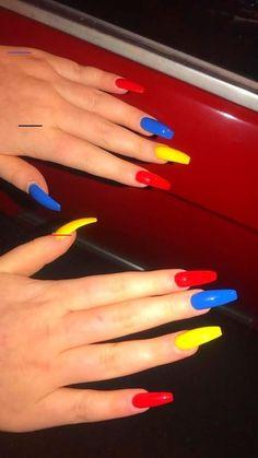 Bright Summer Acrylic Nails, Simple Acrylic Nails, Bright Red Nails, Almond Acrylic Nails, Acrylic Nail Designs, Nail Design Glitter, Nail Design Spring, Nails Design, Aycrlic Nails