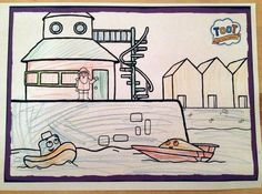 Toot the Tiny Tugboat colouring in by Isobelle.