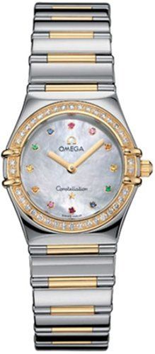 Omega Women's 1376.79.00 Constellation Iris My Choice Quartz Small Watch Omega. $4295.00. Precise Swiss-Quartz movement. Case diameter: 25.5 mm. Water-resistant to 99 feet (30 M). Domed, scratch-resistant sapphire crystal with anti-reflective treatment inside. 18kt. Yellow gold - stainless-steel case; White Mother-of-Pearl dial with colored stones dial and diamond bezel. Save 25% Off!