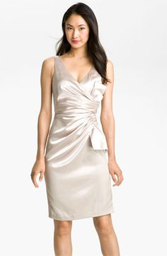 love the color and sheen of this dress! Maggy London Side Bow Stretch Satin Sheath Dress   Nordstrom