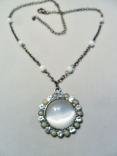 Vintage STUNNING Moonglow Pendant Necklace Glass Rhinestones Retro 1980's Statement Jewelry by KathiJanes on Etsy