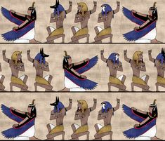 Egyptian gods on Papyrus fabric by pond_ripple on Spoonflower - custom fabric, wallpaper, and gift wrap!