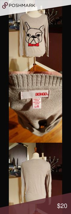 Bingo French Bulldog Sweater Absolutely adorable sweater with a French bulldog!  Can be a great layering piece and will receive a lot of compliments.  Small pull on top of graphic, see pictures. BONGO Sweaters