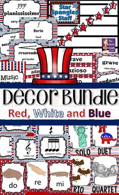 Decorate your music room in red, white and blue with this HUGE set of decorations that will teach and look great. Music symbols, tempo and dynamic posters, word wall and MORE! Kindergarten Music, Preschool Music, Teaching Music, Elementary Music, Upper Elementary, Music Classroom, Classroom Decor, Sixth Grade, Second Grade