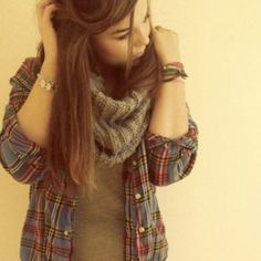 Flannel and scarf for fall