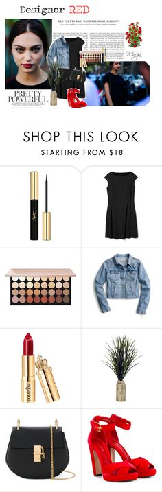 """August 26th, 2017"" by starshinebeauty ❤ liked on Polyvore featuring Yves Saint Laurent, J.Crew, Chloé, Alexander McQueen and red"