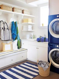 rethink position of washer/dryer? LOVE this mudroom/laundry but will probably be bringing our side by side ones. and our mudroom/laundry is going to be small. Mudroom Laundry Room, Laundry Room Design, Laundry Shelves, Laundry Room Inspiration, Love Home, Sweet Home, New Homes, Shabby Chic, House Design