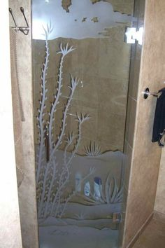 Ocotillo Desert Shower Glass Etching, Etched Glass, Custom Shower, Glass Shower Doors, Shower Enclosure, Door Design, Glass Art, Custom Design, Carving