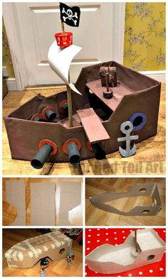 Make a DIY Pirate Ship - Red Ted Art - Make crafti.-How to… Make a DIY Pirate Ship – Red Ted Art – Make crafting with kids easy & fun DIY Pirate Ship. We love this easy cardboard ship. My kids still play with it years later - Pirate Ship Craft, Kids Pirate Ship, Pirates For Kids, Cardboard Crafts Kids, Cardboard Toys, Cardboard Recycling, Cardboard Playhouse, Cardboard Furniture, Cardboard Pirate Ships