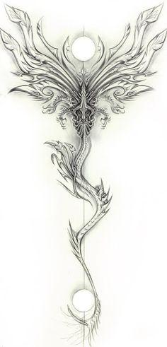 Draconic Design (Exileden on deviantART, Tattoos 3d, 1 Tattoo, Badass Tattoos, Back Tattoos, Great Tattoos, Beautiful Tattoos, Body Art Tattoos, Tattoo Quotes, Wing Tattoos
