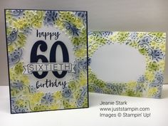 60th Birthday card using Stampin' Up! Milestone Moments Stamp Set, Large Numbers Framelits, Confetti Embossing Folder, and sponging technique.
