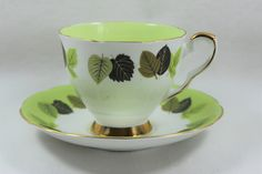 Royal Stafford Bone China Lime Green Teacup and Saucer with Green Leaves by GRCTreasures on Etsy Pooh's Grand Adventure, Old Pottery, Leaf Border, Royal Stafford, Square Tray, Chocolate Cups, Stoke On Trent, Jade Green, Teacups
