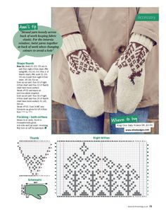 foto Crochet Mittens Free Pattern, Knitted Gloves, Knitting Socks, Knit Crochet, Knitting Charts, Knitting Patterns, Wrist Warmers, Knit Stitches, Flats