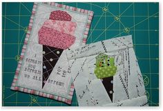 paper-pieced ice cream cones and a tutorial - pattern towards the bottom